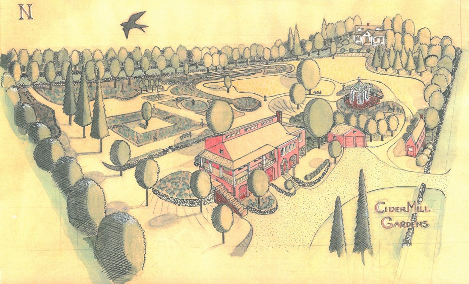 The gardens I made at my previous home in New Hampshire. Pen, ink & watercolor sketch done by Nan, in Feb. 2002