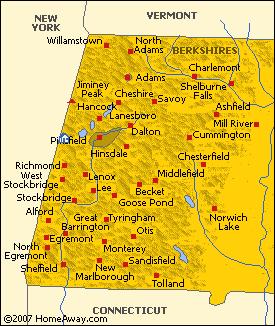 Map of the Berkshire Hills of Western Massachusetts
