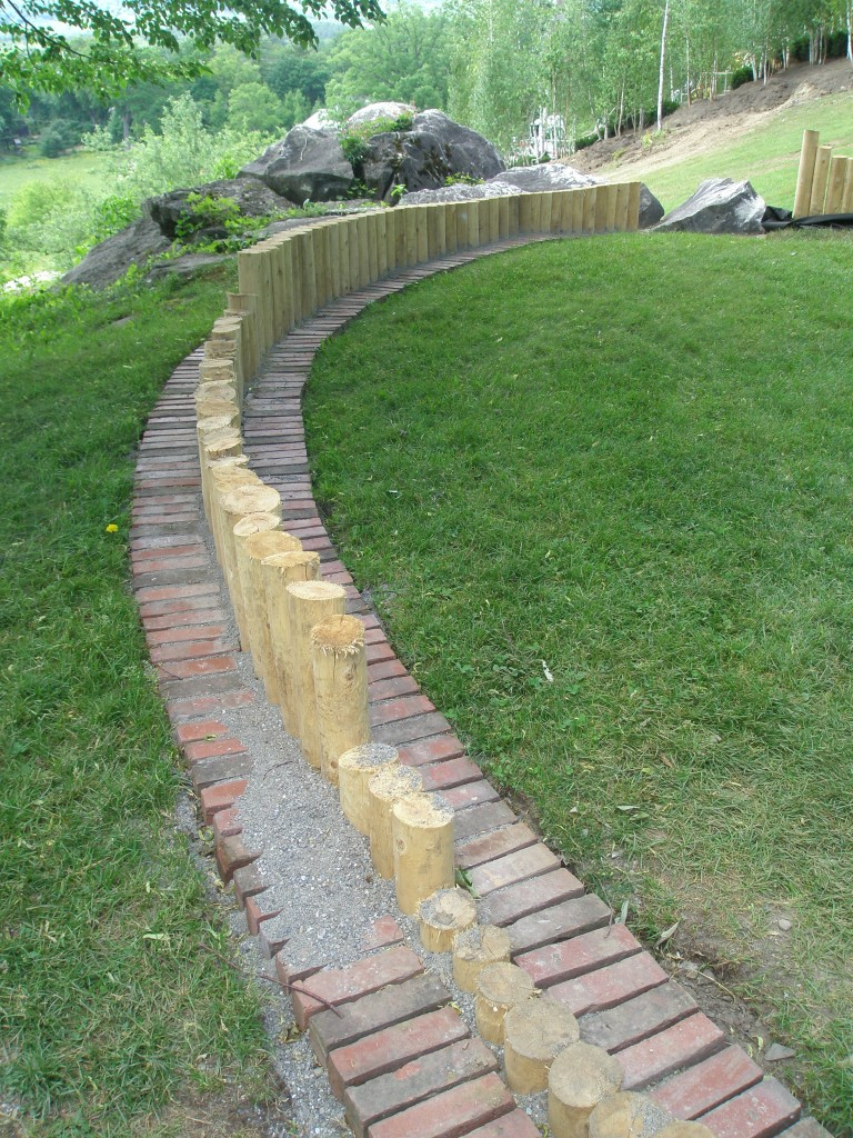 Detail of Oak Lawn retaining wall