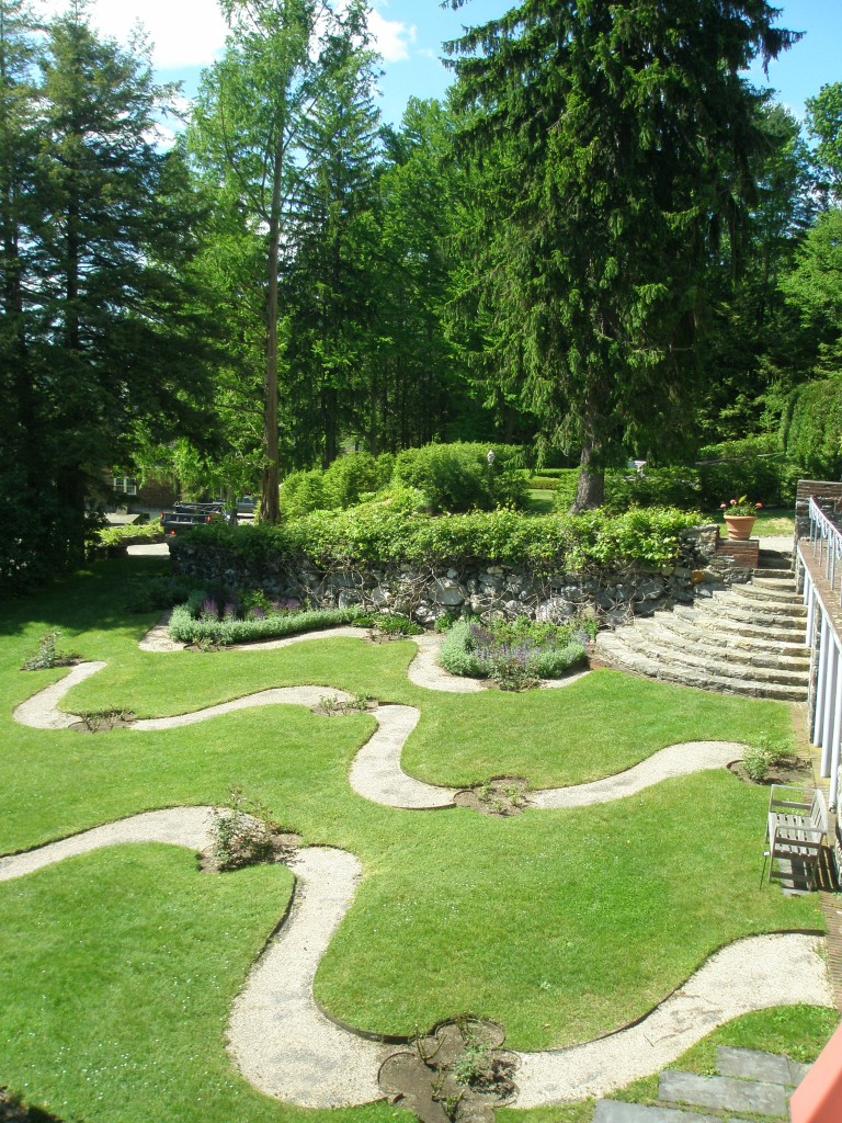 The Rose Garden was designed to be seen from above. Here, the view from the walkway at the lower edge of the Top Lawn.