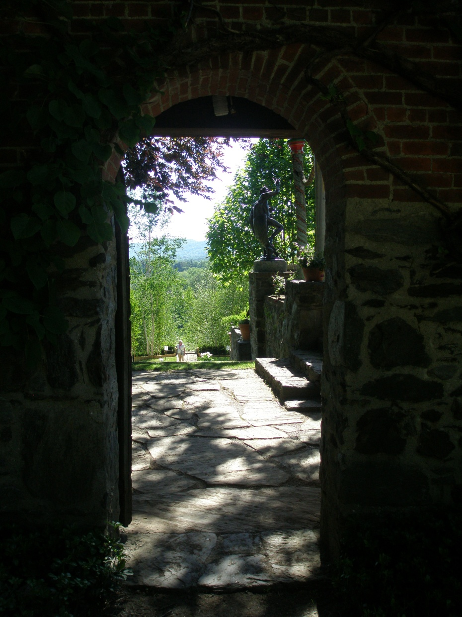 View from the the Service Court through the Gate, and down toward the Water Runnel and the Blue Steps