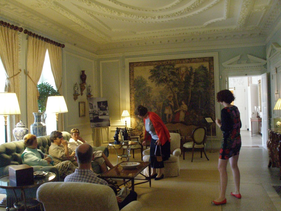 Drawing Room on the Main Floor. This is the largest room in the house, measuring 36 feet long by 20 feet wide. Brussels tapestries are set into the walls.