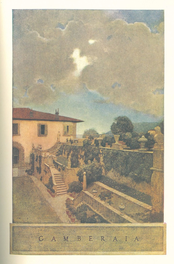 Maxfield Parrish's illustration of the Gardens at Villa Gamberaia