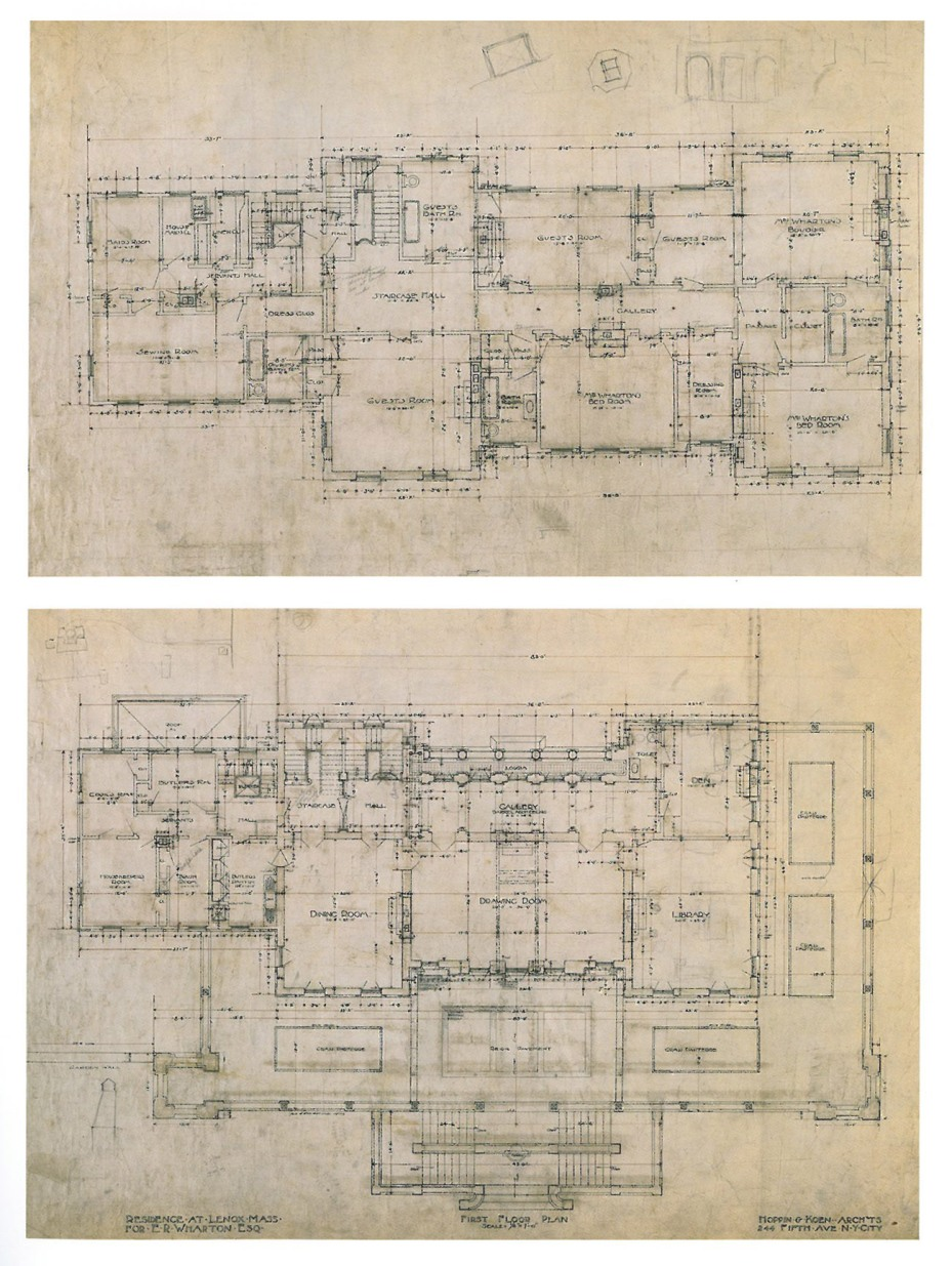 "House Plans for the Main Floor, and for the Bedroom Floor of The Mount. Image courtesy of ""Edith Wharton at Home: Life at The Mount,"" by Richard Guy Wilson."