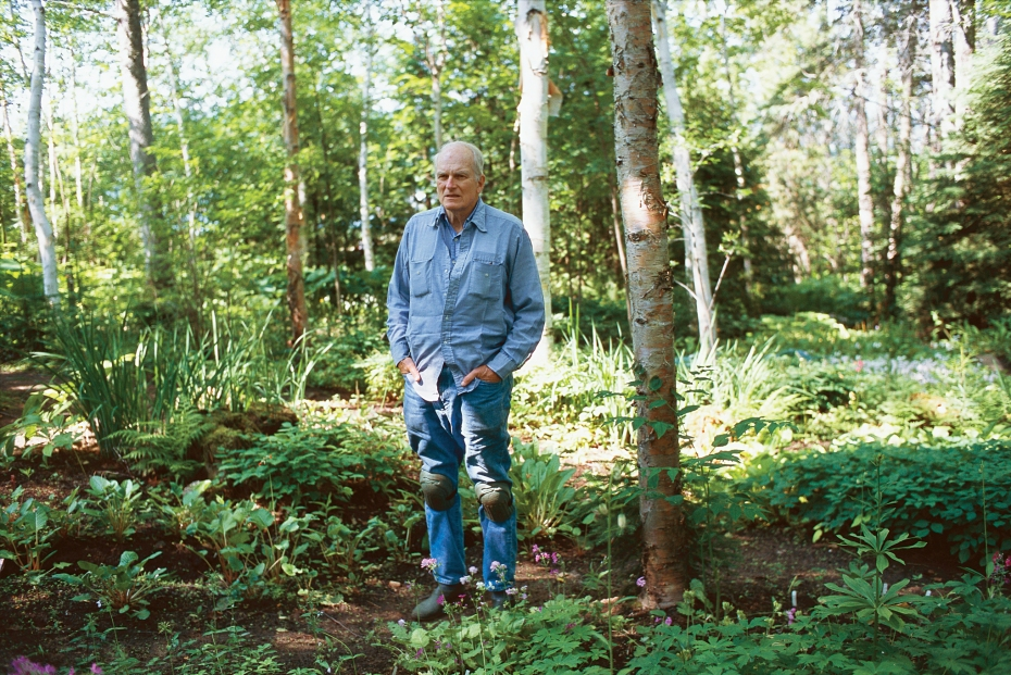 Frank Cabot, with his ever-present knee pads. Image courtesy of Garden Design Magazine.
