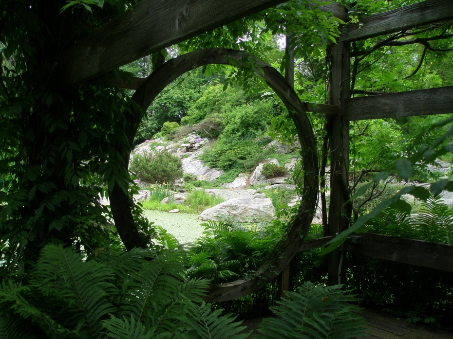 View of the Lake and Rock Ledge Garden, from inside the Wisteria Pavilion.