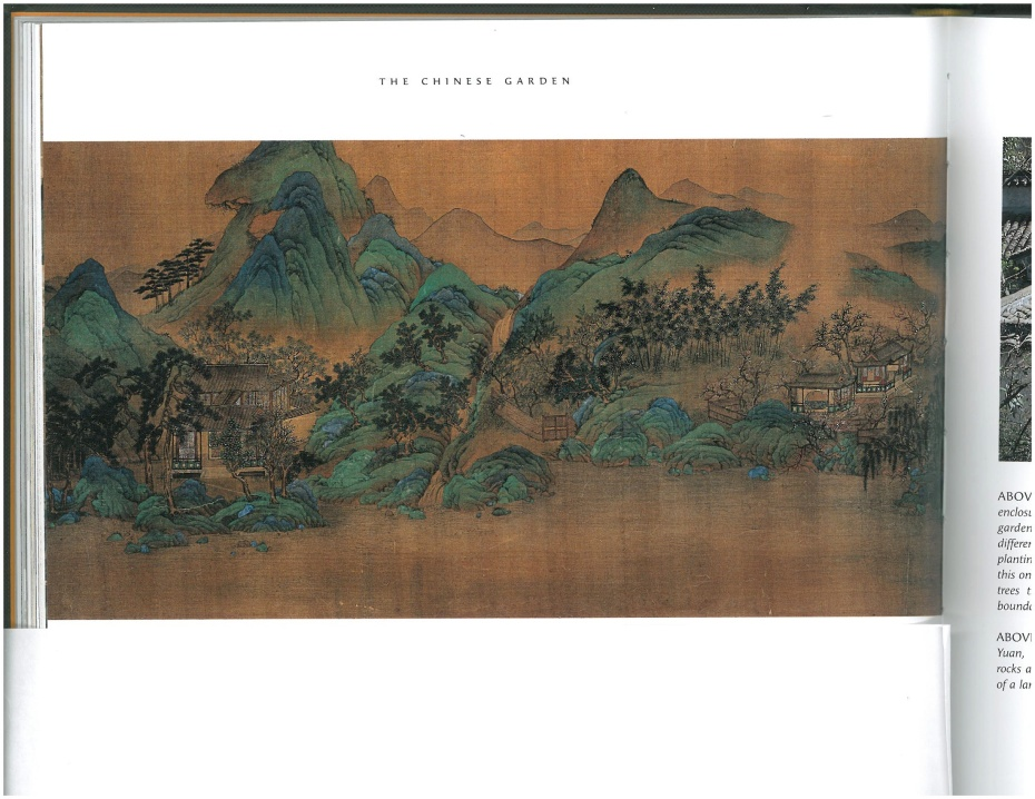 Wang Chuan scroll (detail). Copy after Wang Wei (699--791). Image courtesy of THE CHINESE GARDEN, by Maggie Keswick.