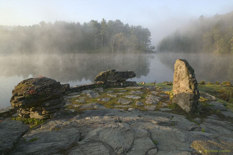 The 3 large rocks on The Point are named: Turtle Rock (left). Dragon Rock (center). Owl Rock (right). Image courtesy of the Innisfree Foundation.