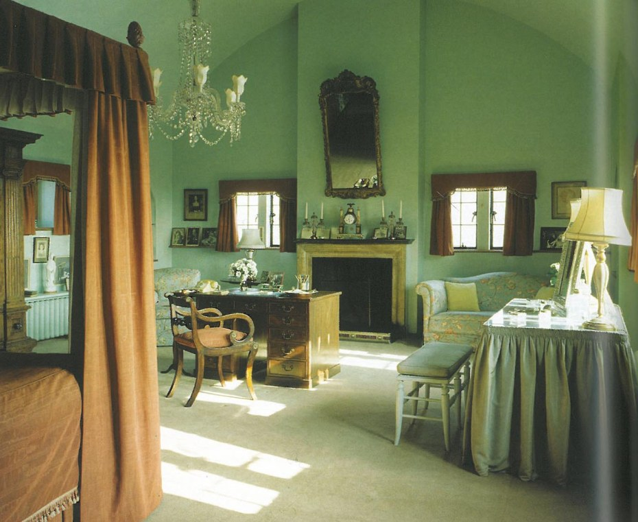 "Lady Churchill's Bedroom is on the top floor of the 3-storey addition, on the south side of the House. The barrel-vaulted ceiling is painted the same duck egg blue color that coats the walls. Churchill called this room his wife's ""magnificent aerial bower."" Image courtesy of The National Trust."
