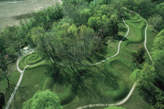 Southern Ohio's Great Serpent Mound is 1349 feet long. Radiocarbon dating of charcoal discovered within the mound indicates that people worked on the mound circa 1070 CE.
