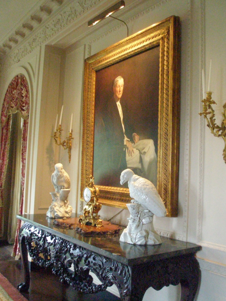 Dining Room, with John Singer Sargent's portrait of JDR, painted in 1917. Flanked by two massive Meissen birds (c.1734)