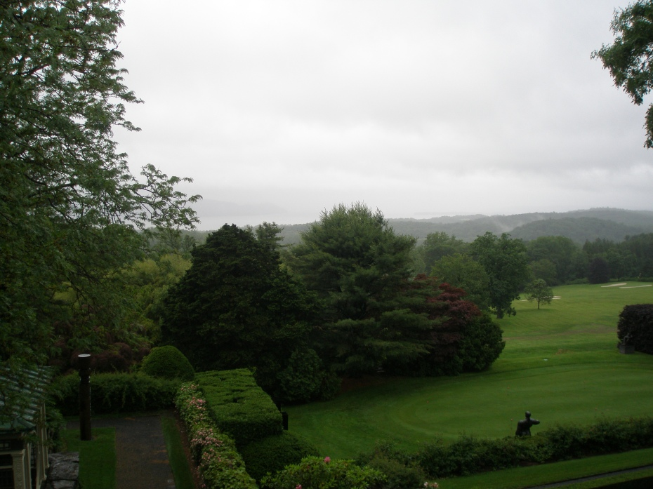 The Very Soggy View from the West Porch--due west--toward an invisible Hudson River