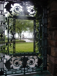 Peering through the Grille, toward the Entrance Forecourt, and the Oceanus Fountain