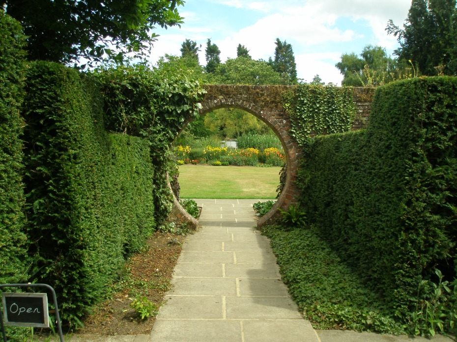 Halfway down the Memorial Garden Walk, this Moon Gate frames a view of the Square Walled Garden, which was built in 1840.