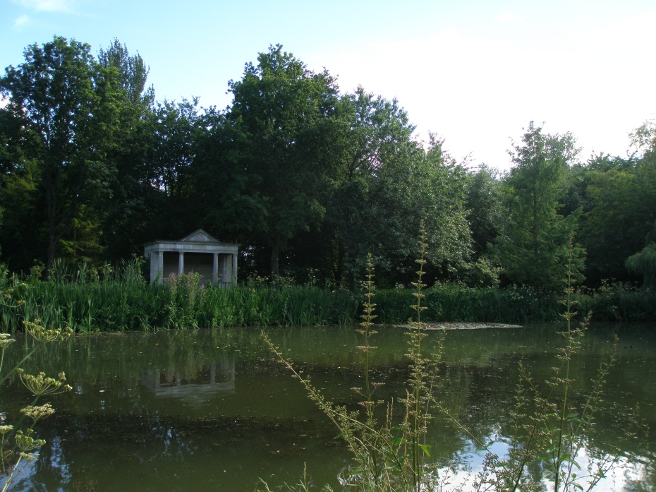 A Stone Temple is the focal point at the southern end of the Lower Lake