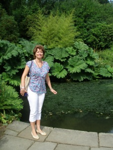 Guide Extraordinaire: Amanda Hutchinson, by Winston Churchill's koi-pond, at Chartwell, on August 5, 2013.