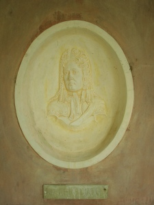 We're back now to the more modest charms of Chartwell. A terra cotta medallion of the First Duke of Marlborough adorns an inner wall of the Marlborough Pavilion.