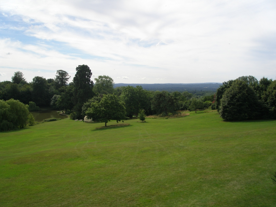 Below the Terrace Lawn, acres of grass extend down to two lakes and a swan pen. Further afield are broad meadows, and  forests of Chestnut trees.