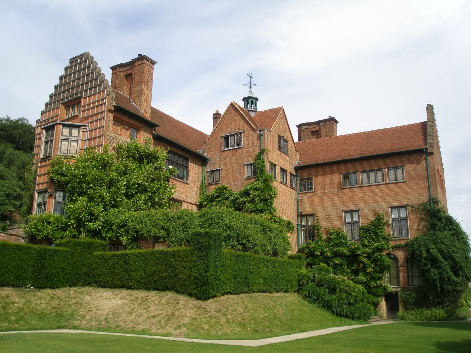 View of the rear of the House from the southernmost point on the Terrace Lawn. Clementine planted a Magnolia grandiflora, which has reached a substantial height, against the trellis-work attached to the House.