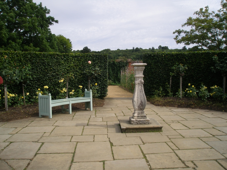 Midway along the Golden Rose Avenue is a circular terrace with a sundial. Below the sundial is buried a pet dove that Clementine brought home from a cruise to Bali in 1935. The dove survived for 2 or 3 years at Chartwell. Chartwell's gardens are full of personal touches.