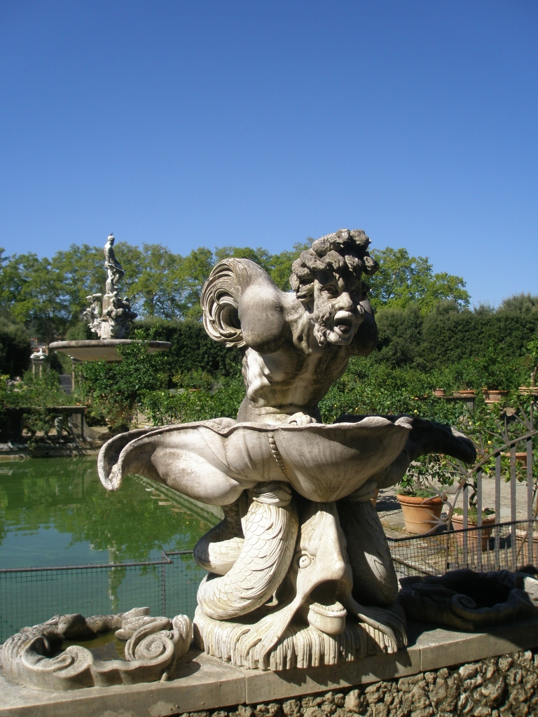 My photo of the original Oceanus Fountain (seen looming in the background), taken in Florence's Boboli Gardens during my visit on Sunday, Sept. 9, 2012.
