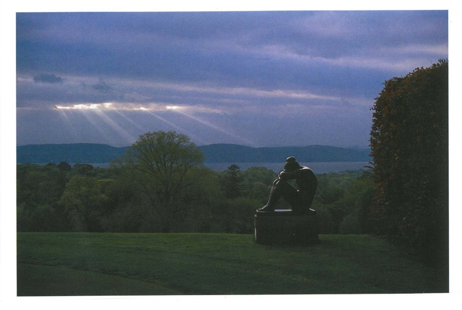 "The statue at the western edge of the Putting Green: Gaston Lachaise's MAN (1938)...on a day when it's not raining. Image courtesy of ""The Rockefeller Family Home: Kykuit,"" by Ann Rockefeller Roberts"