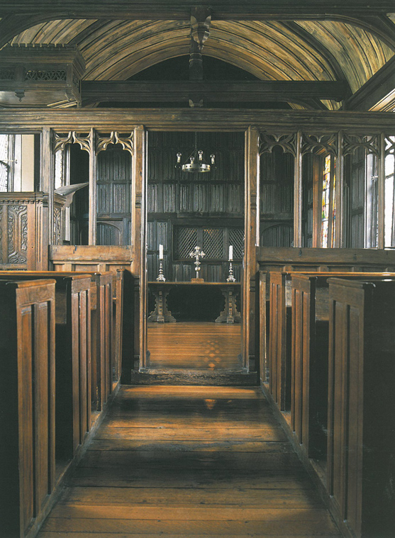 The New Chapel was added in 1470-80. It was not intended as a chapel, but seems originally to have been a grand guest chamber. The room was probably consecrated as a chapel in 1633. Image courtesy of The National Trust.