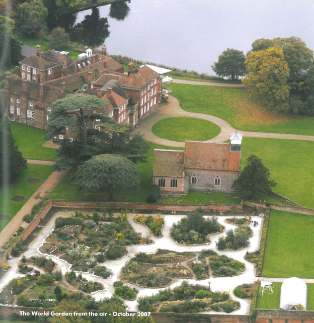 Hawk's-eye view of Lullingstone Castle, The Church of St.Botolph, and the World Garden...as it appeared in 2007. Image courtesy of Lullingstone Castle.