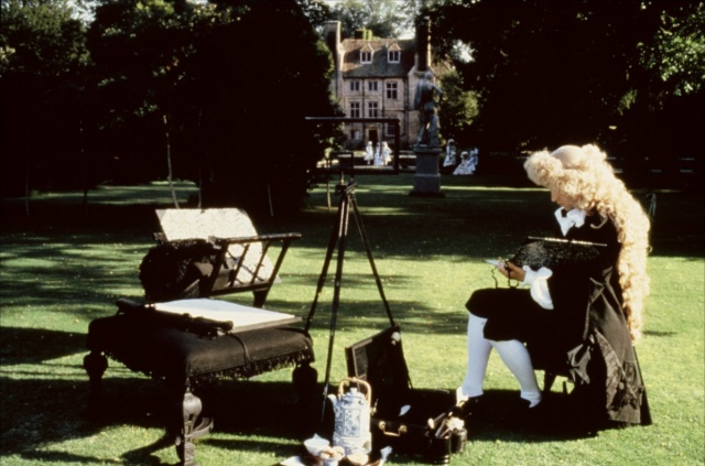 Scene from the film THE DRAUGHTSMAN'S CONTRACT. The Artist is set up, on the same Draughtsman Lawn that Amanda and I walked across. Image courtesy of Peter Greenaway.