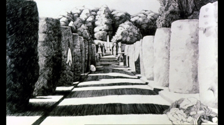 Scene from the film THE DRAUGHTSMAN'S CONTRACT. This is the drawing of the Yew Allee that the Artist produced for his client. Image courtesy of Peter Greenaway.
