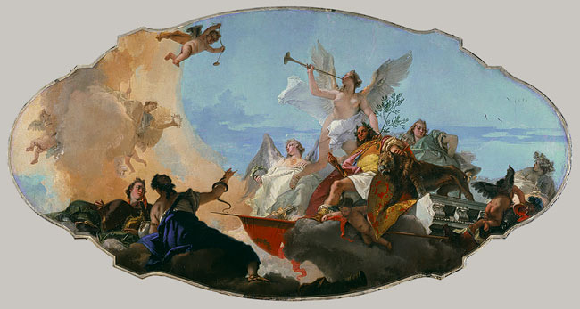 Tiepolo's magnificent GLORIFICATION OF THE BARBARO FAMILY, which, prior to my discovering Chagall's Memorial to Sarah, was my most-favorite example of apotheosis art. Image courtesy of the Metropolitan Museum of Art.