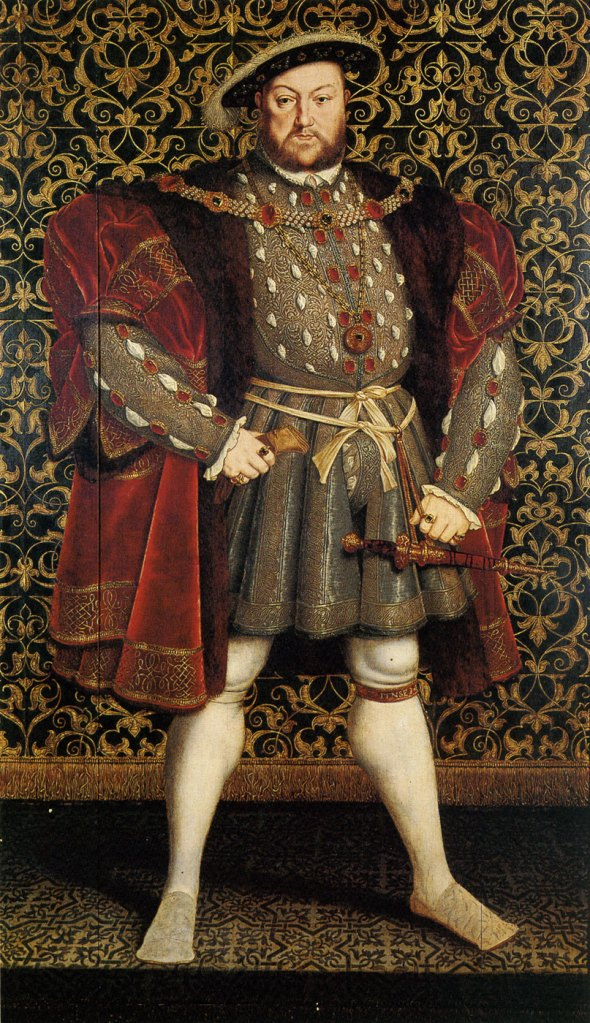 Henry VIII in his Rampant Prime. Painting by Hans Eworth, after the famous portrait by Hans Holbein. Image courtesy of Chatsworth House.