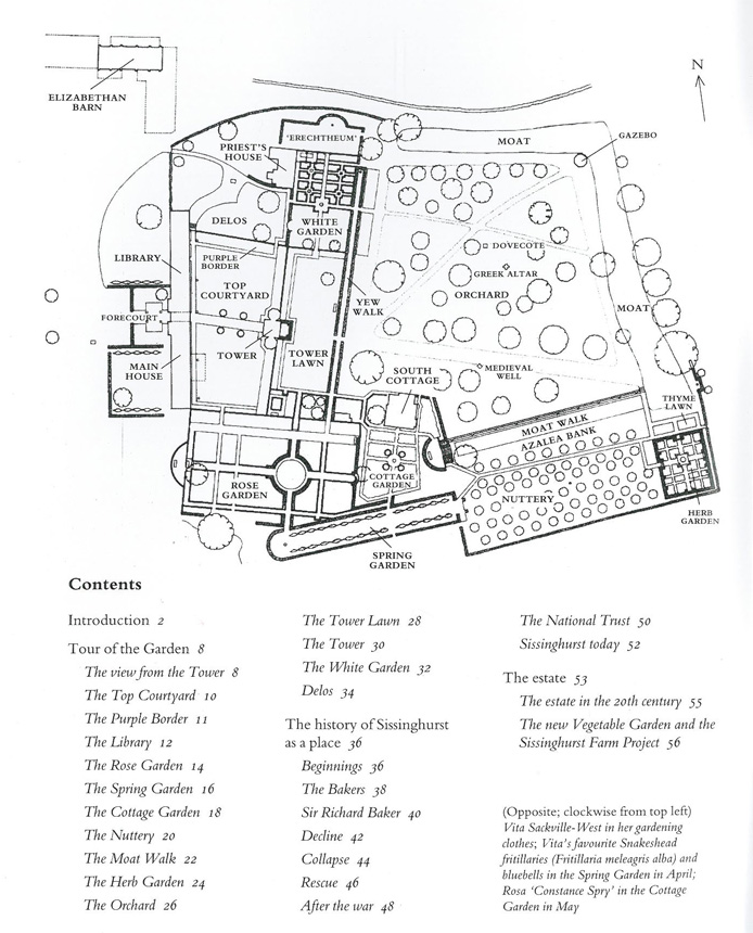 Plan of the Gardens at Sissinghurst Castle. Image courtesy of The National Trust.