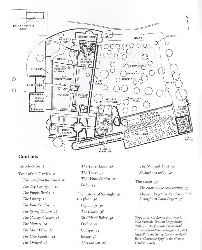 Plan of the Gardens at Sissinghurst Castle. Image courtesy of The National Trust.