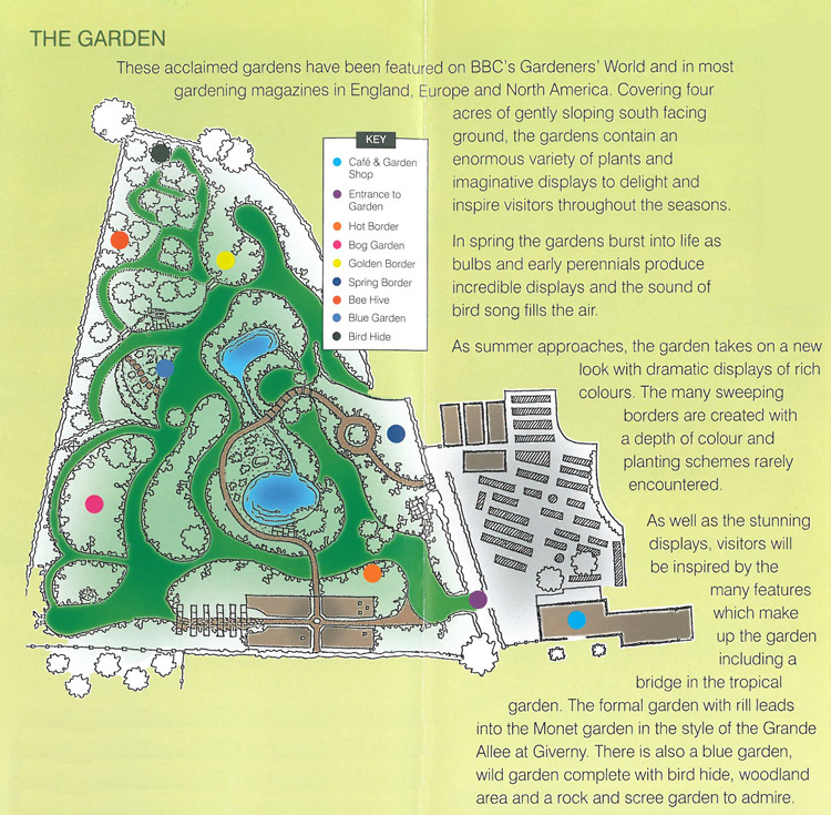 Plan of the display gardens at Merriments, in East Sussex.
