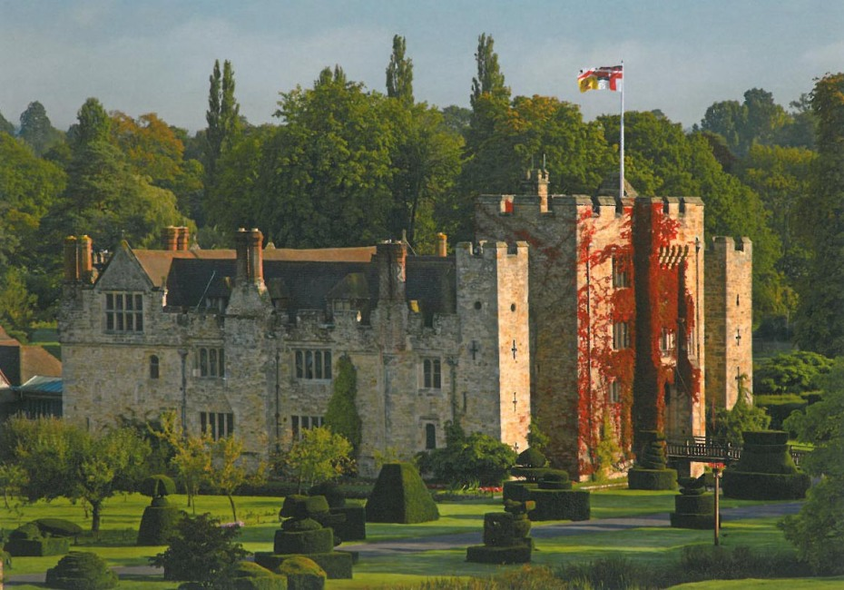 Hever Castle, Anne Boleyn's childhood home. A castle has occupied this site since 1270. The current Castle, which is surrounded by a moat, dates from the 15th century. Image courtesy of Hever Castle.