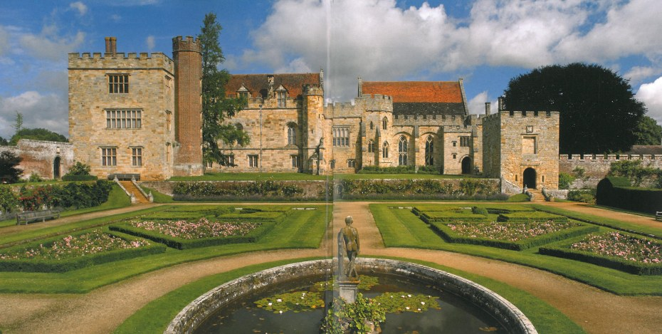 The full expanse of the south side of the Manor House, as seen from the Italian Garden. The Garden Tower is to the far right in this photo. Image courtesy of Penshurst Place.