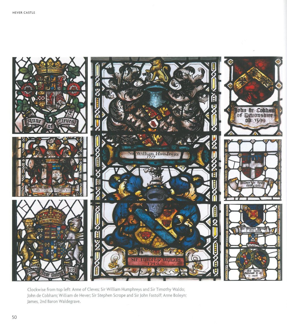 Stained Glass Windows in the Long Gallery. These commemorate the different owners of Hever Castle. Image courtesy of Hever Castle.