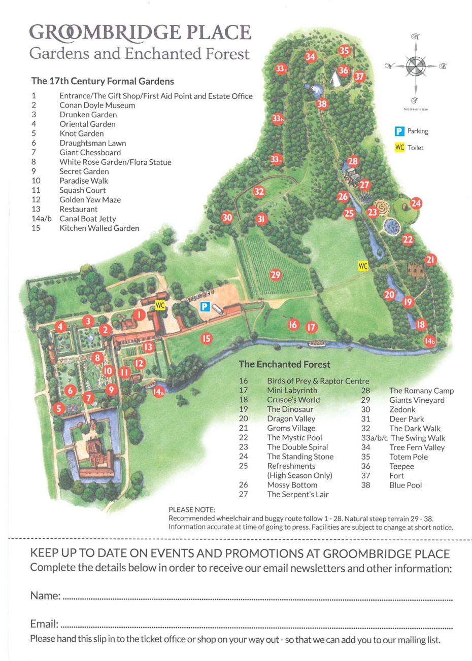 Map of the grounds at Groombridge Place