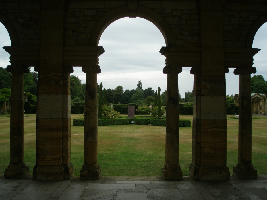 Our view from within the Loggia, across the central green of the Italian Garden
