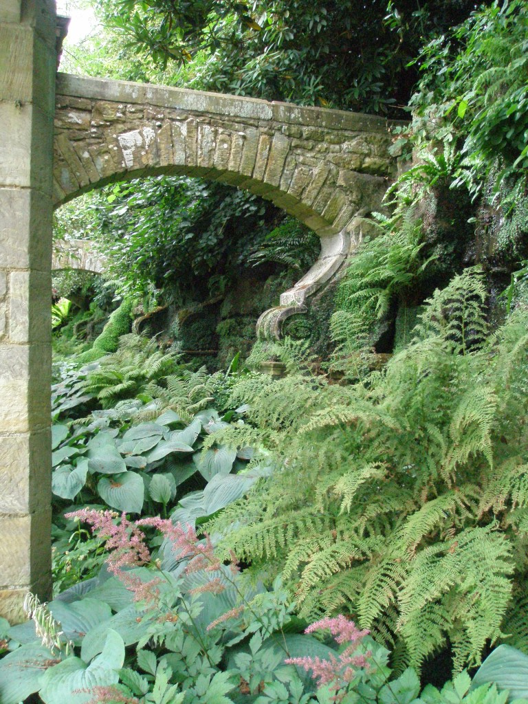 Massive stone arches support the Grotto walls