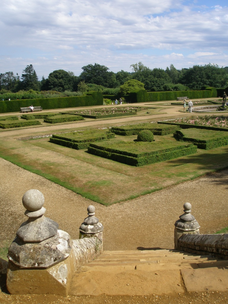 We climbed steps to the South Lawn, for a higher view of the Italian Garden. Water shortages were afflicting Kent in August, as the parched lawns indicate.