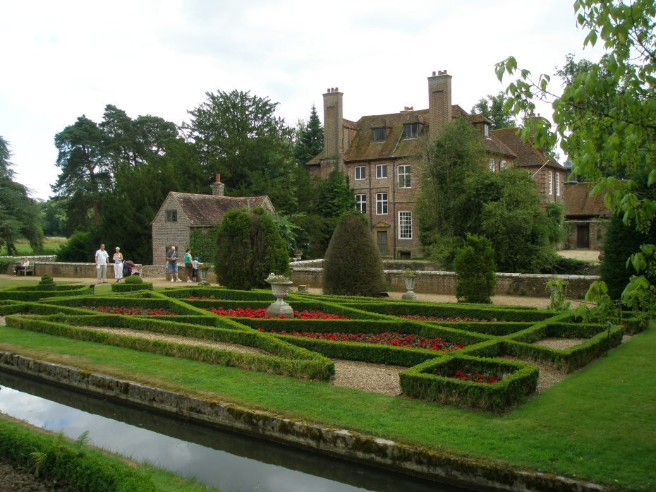 The Knot Garden, which is between the inner and outer moats. The House is encircled by the much wider inner moat.