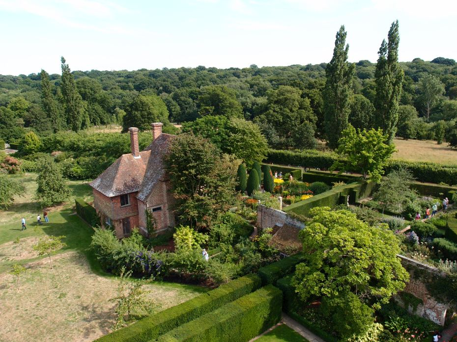 Looking further to the Southeast. The South Cottage with the Cottage Garden, and then the Lime Walk.
