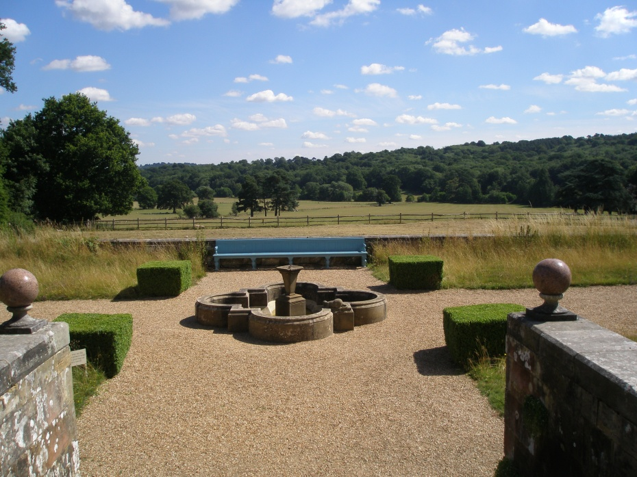Behind the New House, on the Garden Front Terrace, this splendid vista of the Kent countryside unfolds.