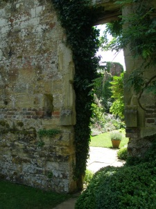 A peek into the small garden that's contained inside the walls of the dismantled, 17th century wing of the Old Castle