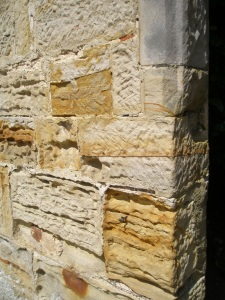 Detail of Old Castle's sandstone...quarried on site.
