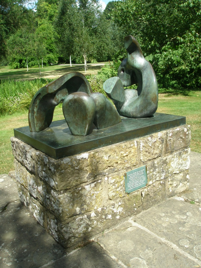 THREE PIECE RECLINING FIGURE. 1977. By Henry Moore. Moore donated this piece, in memory of his friend, Christopher Hussey.