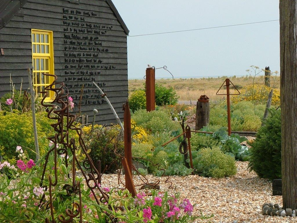 The British film-maker, Derek Jarman, created a tiny, breath-takingly beautiful garden in the inhospitable environment around Prospect Cottage, his home on the shingle beach at Dungeness. Photo courtesy of garden designer, Anne Guy. www.anneguygardendesigns.co.uk