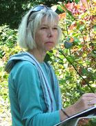 Anne Guy, garden designer, at work.